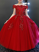 Χαμηλού Κόστους Λουλουδάτα φορέματα για κορίτσια-Πριγκίπισσα Μακρύ Φόρεμα για Κοριτσάκι Λουλουδιών - Τούλι Κοντομάνικο Ώμοι Έξω με Χάντρες / Διακοσμητικά Επιράμματα