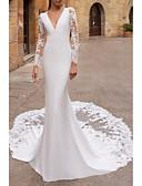 baratos Vestidos de Casamento-Sereia Decote V Cauda Corte Renda / Cetim Elástico Manga Longa Vestidos de casamento feitos à medida com Bordado 2020