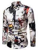 baratos Camisas Masculinas-Homens Camisa Social Básico Geométrica / Estampa Colorida Arco-íris