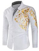 povoljno Muške košulje-Majica Muškarci - Osnovni Dnevno / Izlasci Geometrijski oblici Print Crn