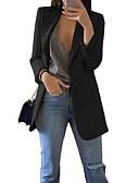 Χαμηλού Κόστους Blazers-Γυναικεία Μπλέιζερ, Μονόχρωμο Κλασικό Πέτο Πολυεστέρας Μαύρο / Ανθισμένο Ροζ / Φούξια