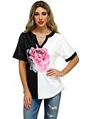 ราคาถูก เสื้อยืดสำหรับสุภาพสตรี-สำหรับผู้หญิง เสื้อเชิร์ต ลายดอกไม้ สีดำ