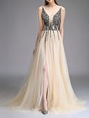 Χαμηλού Κόστους Βραδινά Φορέματα-Γραμμή Α Λαιμόκοψη V Ουρά Πολυεστέρας Φόρεμα Παρανύμφων με Χάντρες / Δαντέλα / Με Άνοιγμα Μπροστά