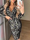 baratos Mini Vestidos-Mulheres Elegante Bainha Vestido Sólido Altura dos Joelhos