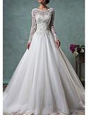 billiga Brudklänningar-A-linje Prydd med juveler Svepsläp Spets / Tyll Långärmad Bröllopsklänningar tillverkade med Knappar / Spetsinlägg 2020