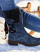 Χαμηλού Κόστους Κολάν-Γυναικεία Μπότες Παπούτσια άνεσης Κοντόχοντρο Τακούνι Στρογγυλή Μύτη PU Μποτίνια Χειμώνας Μαύρο / Βυσσινί / Κόκκινο