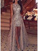 Χαμηλού Κόστους Φορέματα NYE-Γυναικεία Μεταλλικός Κομψό & Πολυτελές Κοντό Μπροστά Μακρύ Πίσω Αμάνικο Λεπτό Εφαρμοστό Φόρεμα - Πούλια Lace Εκτύπωση, Πούλιες Ρετρό Τούλι Μακρύ