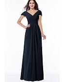 Χαμηλού Κόστους Φορέματα Παρανύμφων-Γραμμή Α Λαιμόκοψη V Μακρύ Σιφόν Φόρεμα Παρανύμφων με Πλισέ