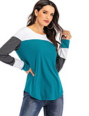 baratos Blusas Femininas-Mulheres Blusa Estampa Colorida Vinho