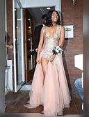 Χαμηλού Κόστους Φορέματα Χορού Αποφοίτησης-Γραμμή Α Βυθίζοντας το λαιμό Ουρά Τούλι / Με πούλιες Φανταχτερό Χοροεσπερίδα Φόρεμα με Πούλιες / Με Άνοιγμα Μπροστά με JUDY&JULIA
