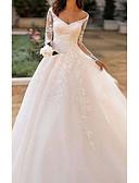 Χαμηλού Κόστους Νυφικά-Γραμμή Α Λαιμόκοψη V / Bateau Neck Ουρά μέτριου μήκους Δαντέλα / Τούλι Μακρυμάνικο Φορέματα γάμου φτιαγμένα στο μέτρο με Κέντημα / Εισαγωγή δαντέλας 2020