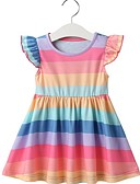 Χαμηλού Κόστους Φορέματα για κορίτσια-Παιδιά Κοριτσίστικα Ριγέ Φόρεμα Ουράνιο Τόξο