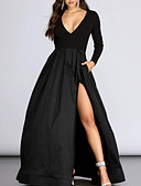 baratos Vestidos de Noite-Linha A Decote mergulhador Longo Poliéster / Cetim Elegante Evento Formal Vestido 2020 com Fenda Frontal / Pregas