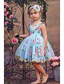 ราคาถูก เดรสเด็กผู้หญิง-เด็ก เด็กผู้หญิง ลายดอกไม้ กระโปรงชุด สีฟ้า