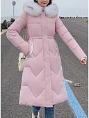 olcso Női hosszú kabátok és parkák-Női Egyszínű Hosszú Pehely, Pamut Fekete / Fehér / Dusty Rose M / L / XL