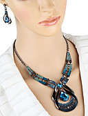 billige Trendy klokker-Dame Dråpeøreringer Choker Halskjede Anheng Halskjede 3D Unikt design Vintage øredobber Smykker Blå Til Ferie 1set