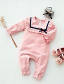 billige Babydrakter-Baby Jente Grunnleggende Stripet Langermet Endelt Rosa