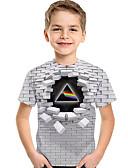 baratos Camisas para Meninos-Infantil Bébé Para Meninos Activo Básico Geométrica 3D Estampado Manga Curta Camiseta Cinza Claro