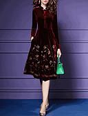 billige Kjoler med trykk-Dame A-linje Kjole - Blomstret Knelang
