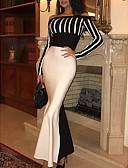 Χαμηλού Κόστους Γυναικεία Φορέματα-Γυναικεία Βασικό Γραμμή Α Φόρεμα - Ριγέ Μακρύ
