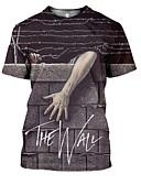 billige T-skjorter og singleter til herrer-Rund hals Store størrelser T-skjorte Herre - Bokstaver Grunnleggende Grå / Kortermet