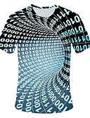 Χαμηλού Κόστους Αντρικές Μπλούζες με Κουκούλα & Φούτερ-Ανδρικά Μέγεθος EU / US T-shirt Βασικό 3D Στρογγυλή Λαιμόκοψη Ουράνιο Τόξο / Κοντομάνικο
