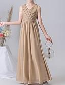 Χαμηλού Κόστους Φορέματα για παρανυφάκια-Γραμμή Α Λαιμόκοψη V Μέχρι τον αστράγαλο POLY Φόρεμα Νεαρών Παρανύμφων με Πλισέ