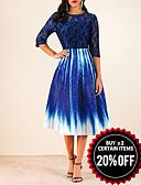 Χαμηλού Κόστους Print Dresses-Γυναικεία Γραμμή Α Φόρεμα - Γεωμετρικό, Δαντέλα Μίντι