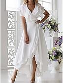 Χαμηλού Κόστους Γυναικεία Φορέματα-Γυναικεία Μεγάλα Μεγέθη čvrsta Boja Σέξι Πέταλο Γραμμή Α Φόρεμα - Μονόχρωμο, Με Βολάν Wrap Πολυεπίπεδο Μίντι Λαιμόκοψη V
