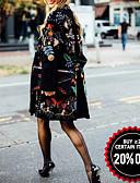 baratos Trench Coats Femininos-Mulheres Diário Outono & inverno Padrão Casaco, Plantas Sem Colarinho Manga Longa Poliéster Preto
