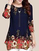 baratos Vestidos Longos-Mulheres Blusa Básico Sólido / Floral Azul