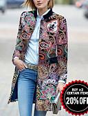 baratos Trench Coats Femininos-Mulheres Diário Básico Inverno Longo Casaco Longo, Geométrica Colarinho Chinês Manga Longa Poliéster Estampado Vermelho