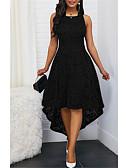 billige Kjoler med trykk-Dame Fest Blonder A-linje Kjole - Ensfarget, Blonde Asymmetrisk Belte ikke inkludert