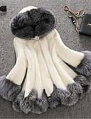 Χαμηλού Κόστους Γυναικεία περιτύλιγμα & κασκόλ-Γυναικεία Χειμώνας Μεγάλα Μεγέθη Μακρύ Faux Fur Coat, Συνδυασμός Χρωμάτων Άσπρο Με Κουκούλα Μακρυμάνικο Ψεύτικη Γούνα Λευκό / Μαύρο