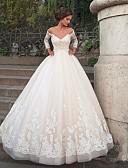 billiga Brudklänningar-Balklänning Bateau Neck Kapellsläp Nylon / Spets / Tyll 3/4 ärm Vacker i svart Bröllopsklänningar tillverkade med Applikationsbroderi 2020
