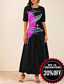 Χαμηλού Κόστους Print Dresses-Γυναικεία Γραμμή Α Φόρεμα - Συνδυασμός Χρωμάτων Μακρύ
