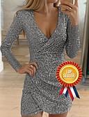 Χαμηλού Κόστους Βραδινά Φορέματα-Γυναικεία Εξόδου Σέξι Λεπτό Εφαρμοστό Φόρεμα - Μονόχρωμο, Πούλιες Βαθύ V Ως το Γόνατο Βαθύ V