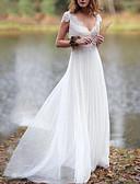 billige Bryllupskjoler-A-linje V-hals Gulvlang Blonder / Tyll Stropper Små Hvite Kjoler Made-To-Measure Brudekjoler med Appliqué / Drapering 2020