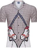 baratos Camisas-Homens Camisa Social Vintage / Básico Estampado, Animal Cavalo Khaki