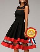 Χαμηλού Κόστους Φορέματα NYE-Γυναικεία Μεγάλα Μεγέθη Πάρτι Λεπτό Θήκη Φόρεμα - Μονόχρωμο Ως το Γόνατο