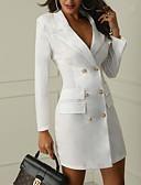 Χαμηλού Κόστους Γυναικεία Φορέματα-Γυναικεία Μπλέιζερ, Μονόχρωμο Κλασικό Πέτο Πολυεστέρας Μαύρο / Λευκό