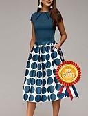 Χαμηλού Κόστους Print Dresses-Γυναικεία Εξόδου Δεκαετία του 1950 Κομψό Γραμμή Α Θήκη Swing Φόρεμα - Πουά Γεωμετρικό Στάμπα, Σουρωτά Patchwork Στάμπα Ως το Γόνατο