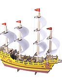 baratos Abrigos e Moletons Masculinos-Robotime Quebra-Cabeças 3D Quebra-Cabeça Brinquedos de Montar Barco de Guerra Navio Faça Você Mesmo De madeira Clássico Crianças Adulto Unisexo Para Meninos Para Meninas Brinquedos Dom