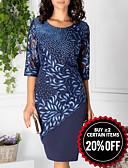 Χαμηλού Κόστους Print Dresses-Γυναικεία Κομψό Δαντέλα Σε γραμμή Α Φόρεμα - Γεωμετρικό, Δαντέλα Στάμπα Ως το Γόνατο
