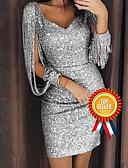 Χαμηλού Κόστους Ρομαντική Δαντέλα-Γυναικεία Glitters Σέξι Σχιστά Μανίκια Λεπτό Εφαρμοστό Φόρεμα - Συμπαγές Χρώμα, Πούλιες Βαθύ V Πάνω από το Γόνατο Λαιμόκοψη V / Πάρτι