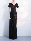 Χαμηλού Κόστους Φορέματα Χορού Αποφοίτησης-Ίσια Γραμμή Λαιμόκοψη V Μακρύ Spandex Κομψό Χοροεσπερίδα / Επίσημο Βραδινό Φόρεμα 2020 με Πούλιες