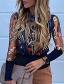 baratos Camisas Femininas-Mulheres Camiseta Floral Azul Marinha