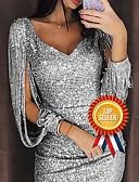 baratos Vestidos Longos-Mulheres Glitters Sensual Mangas Divididas Delgado Tubinho Vestido - Paetês Decote em V Profundo, Côr Sólida Decote V Acima do Joelho / Festa