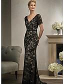 Χαμηλού Κόστους Βραδινά Φορέματα-Ίσια Γραμμή Βυθίζοντας το λαιμό Ουρά Δαντέλα Κομψό Αρραβώνας / Επίσημο Βραδινό Φόρεμα 2020 με Διακοσμητικά Επιράμματα