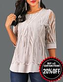 baratos Camisetas Femininas-Mulheres Blusa De Renda Geométrica Cinzento / Primavera / Outono
